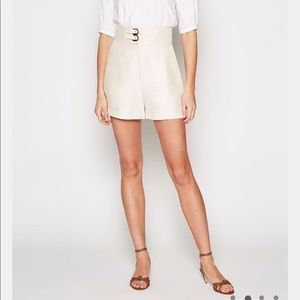 Joie Brenten Shorts High Waisted buckle Froth
